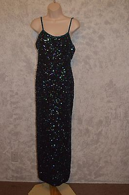 Land Mark Size Large Sequin Beaded Gown  Dress 100  Silk    1653