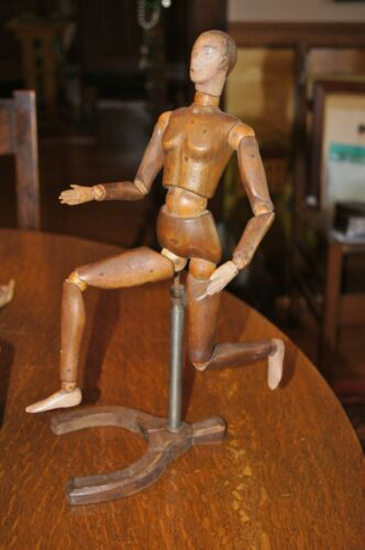 19th C Antique Italian Artist Mannequin Female Original Stand Painted Features