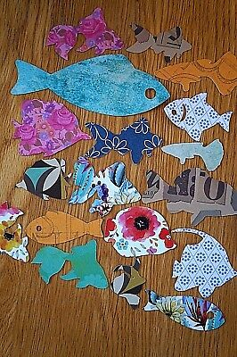 Mixed Lot 25 Funky Fish Die-Cut/Cut Outs Various Colours/Sizes Paper/Card