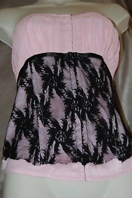 NWOT Charlotte Russe PINK Ruched Chiffon Black Lace /Bustier /Corset /SEXY !!!