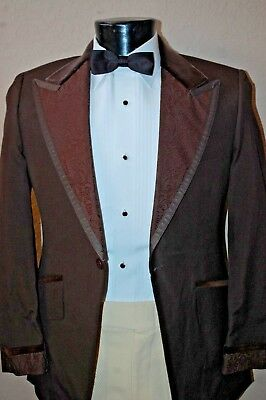 41 R Brown Vintage Tuxedo Coat  Satin Trim Wedding Prom velvet tux Slim fit  ()