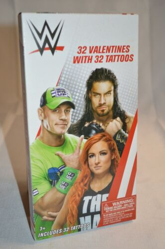 32 VALENTINES with 32 TATTOOS W WWE 8 Designs Valentine CARDS 3+ Collect NEW