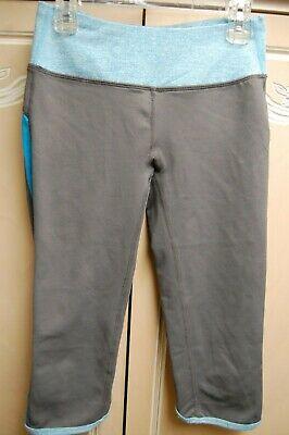 NEW Fabletics Womens Rio XXS GRAY LT BLUE Crop Legging Pants Capri YOGA NWOT 0 2