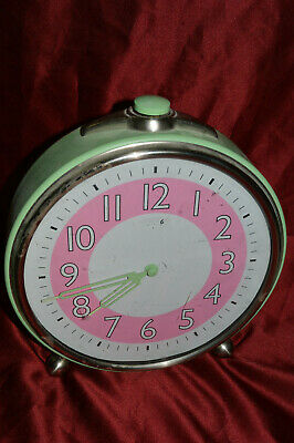 POTTERY BARN OVERSIZED ANALOG TABLE ALARM CLOCK PINK WHITE GREEN