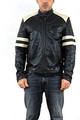 Gas Real Leather Black White Jacket Biker Motorcycle Vtg 90s L Mens Cafe racer