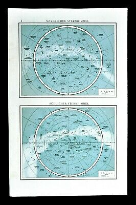 1901 Andrees Map Star Charts North & South Sky Watching Polaris Orion Galaxy