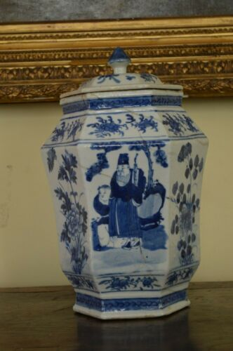 Chinese Chong Zehn Late Ming lidded 6-sided Large Jar 1628-1646