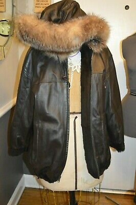 vintage brown fur lined leather crystal fox fur trim hooded  coat jacket m/l -
