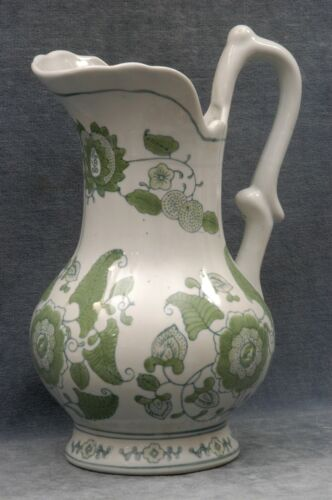 """BEAUTIFUL LARGE GREEN AND BLUE FLORAL MOTIF IRONSTONE EWER 11-1/2"""" HIGH"""