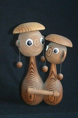 VTG Mid Century Modern wood carving of 2 people embracing Scandanavian? abstract