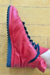 Women's Size 8 Red Leather Lace Up Booties