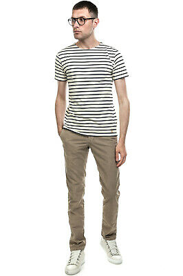 ARMOR-LUX T-Shirt Top Size S Logo Patch Striped Short Sleeve Crew Neck