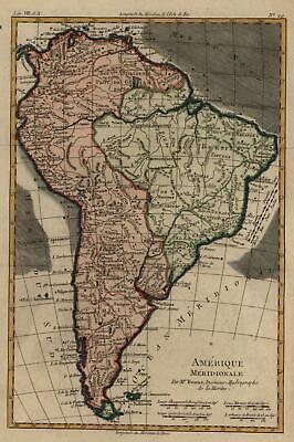 South America European Colonialism Peru Brazil Chile 1780 Bonne engraved map