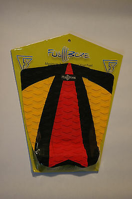 Full-Bore Surfboard Traction Pad 3 Piece Black/Orange/Red