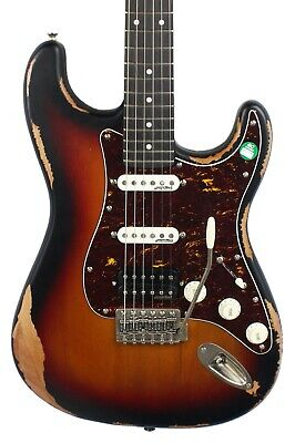 Vintage V6 Icon HSS Electric Guitar in Distressed Sunburst