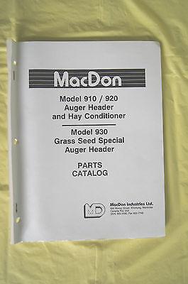 Macdon 910 920 930 Auger Header Hay Conditioner Grass Seed Parts Catalog Canada