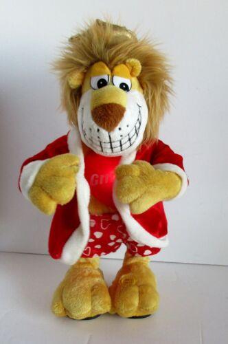 "Plush Mechanical Lit Valentine Lion Dances To Ladies Night Moves Swings Hips 14"""