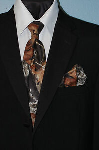 Mens Mossy Oak Camo Camouflage Dress X Long Tie and Hankie FREE SHIPPING