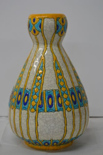 Boch Freres Yellow, Blue, & Turquoise Vase (Art Deco Period)
