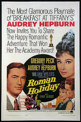 ROMAN HOLIDAY AUDREY HEPBURN GREGORY PECK VESPA R-1962 1-SHEET LINENBACKED