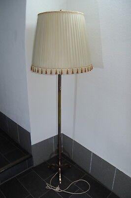 Antike Stehlampe plissierter Schirm Messingfuß 30e Jahre, A 367