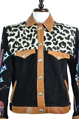 Char Santa Fe Women's Leather Jacket Size Large L Hand Painted Suede Coat