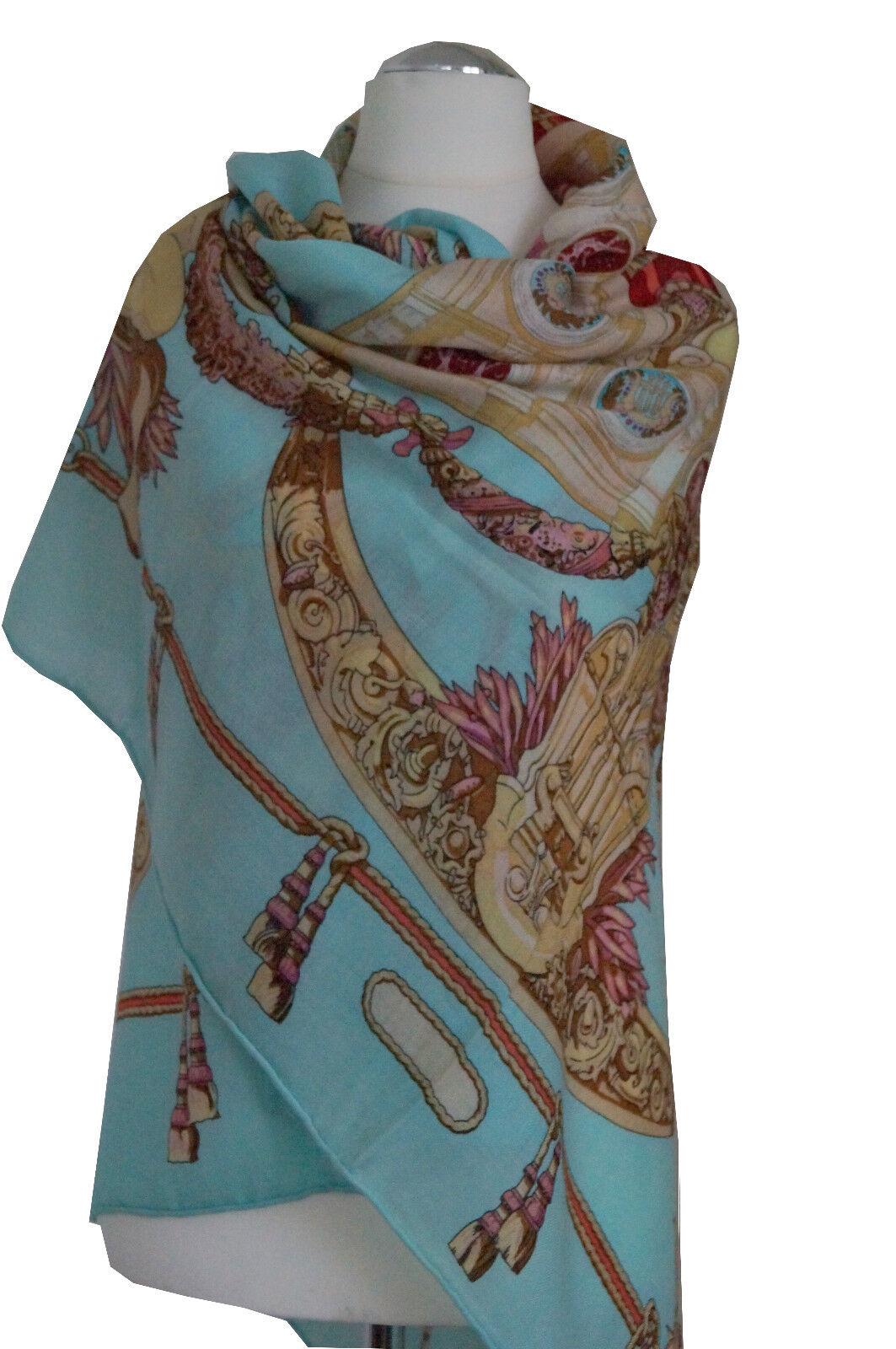 Wunderschönes Damentuch aus Seide-Kaschmir-Wolle, 130x130cm, Handrolliert.