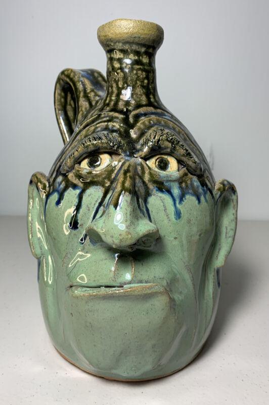 Amazing! Rare American Folk Art Jug By Southern Folk Potter Dal Burtchaell