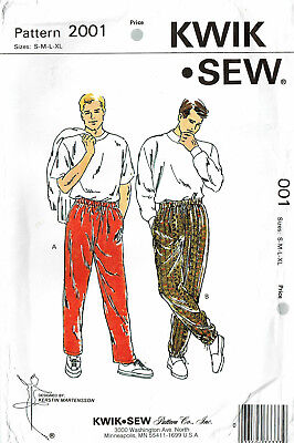 KWIK SEW 2001~ MENS PULL ON PANTS, ELASTIC WAIST 'EASY TO SEW'  ~ SIZES S - - Male To Female Costume