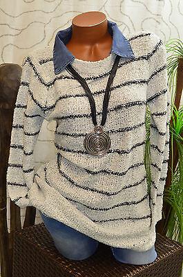 Pullover Pulli Strick Wolle Jeanskragen A-Form langarm meliert hell grau Gr. 40