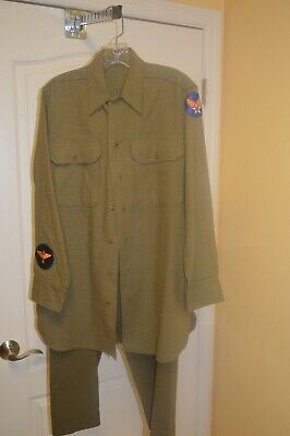 1940s Men's Shirts, Sweaters, Vests Men's 1940s WWII US Army Uniform Shirt M Pants 30X28 40s WW2 OD Vtg Outfit Set $99.99 AT vintagedancer.com