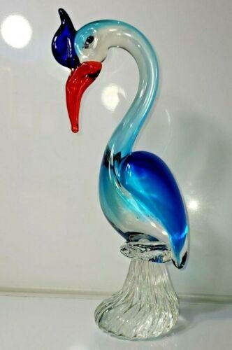 ART GLASS HERON CRANE EGRET BIRD Figurine 10 in TALL AND VERY HEAVY