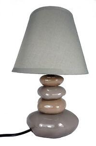 Lampe de table galets chocolat et gris abat jour gris chevet 40 watts h 32 cm - Lampe de chevet chocolat ...