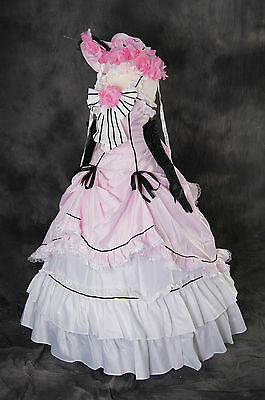 a-089 M/L/XL/XXL BLACK BUTLER CIEL rosa Cosplay Kostüm costume dress Abendkleid