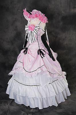 a-089 BLACK BUTLER CIEL Cosplay Kostüm Ball Abend-kleid Rosa weiß Rococo