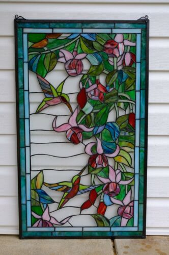 """Large Handcrafted stained glass window panel Hummingbirds & Flower, 20.25"""" x 34"""""""
