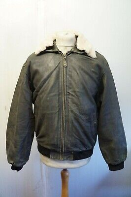 VINTAGE DISTRESSED REDSKINS COW LEATHER FLIGHT JACKET SIZE M