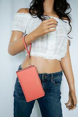 Michael Kors Jet Set Travel Double Zip Leather Phone Wristlet Pink Grape Fruit