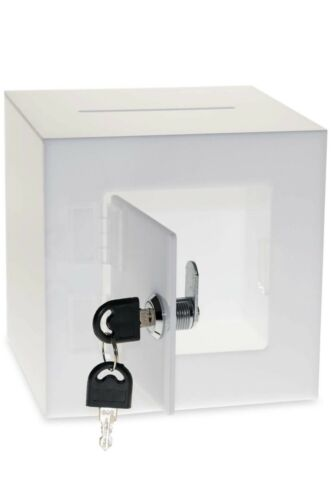 Source One Premium Acrylic Cube Donation Box with Deluxe Rear Open Door WHITE