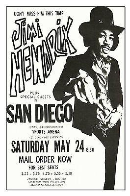 Jimi Hendrix Concert Poster 1969 San Diego, Reproduction 11x17 Handbill