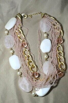 Rose Quartz Seed Beed Chain Multi Strand Necklace 21