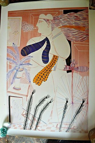 GREEK PAINTER ALEKOS FASSIANOS RARE LITHOGRAPH PRINT A PALMIST IN MY ROOM 1935