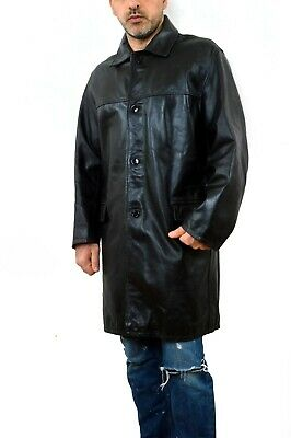 Vintage 90s Leather Black Matrix Blazer Coat Jacket XL Vintage 90s Made in ITALY