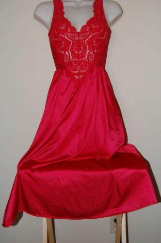 Vintage OLGA Bodysilk NIGHTGOWN Red Size Small Nylon Sweep Gown RN 91480