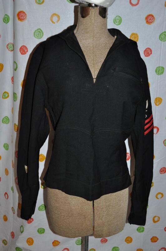 VINTAGE WOOL CRACKER JACK MENS SMALL NAVY SHIRT  HALLOWEEN COSTUME DRESS UP