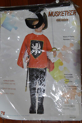 Child Red Musketeer Costume Boy 4-6 Small Medieval Renaissance Halloween