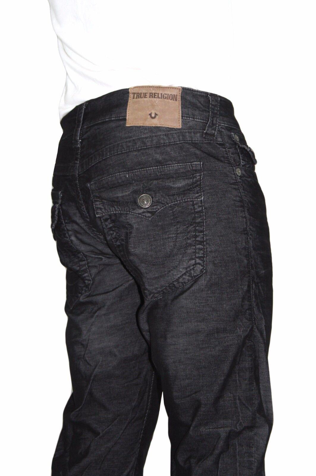 NWT True Religion Brand Men's Ricky Straight Leg Corduroy Black Jeans Pants