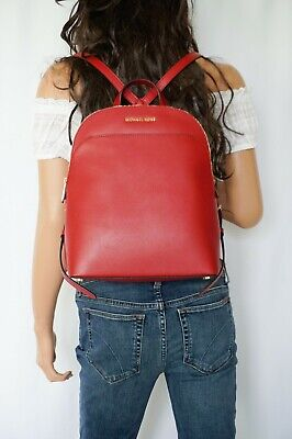 NWT MICHAEL KORS EMMY LARGE DOME BACKPACK SAFFIANO LEATHER RED (Red Michael Kors)