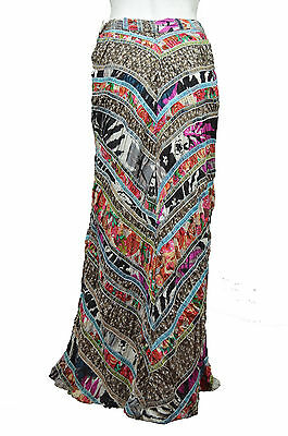 [65 81] FREE PEOPLE NWT MULTI-COLOR DARK NATURE 100% COTTON MAXI SKIRT SIZE: 2