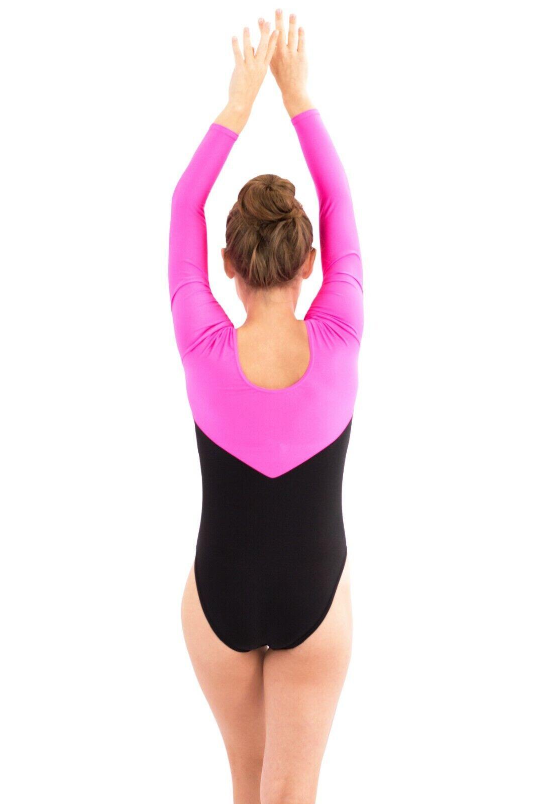 Gymnastik Bodies dreifarbig Glanz Damen lange Ärmel vers. Modelle Elasthan S-L